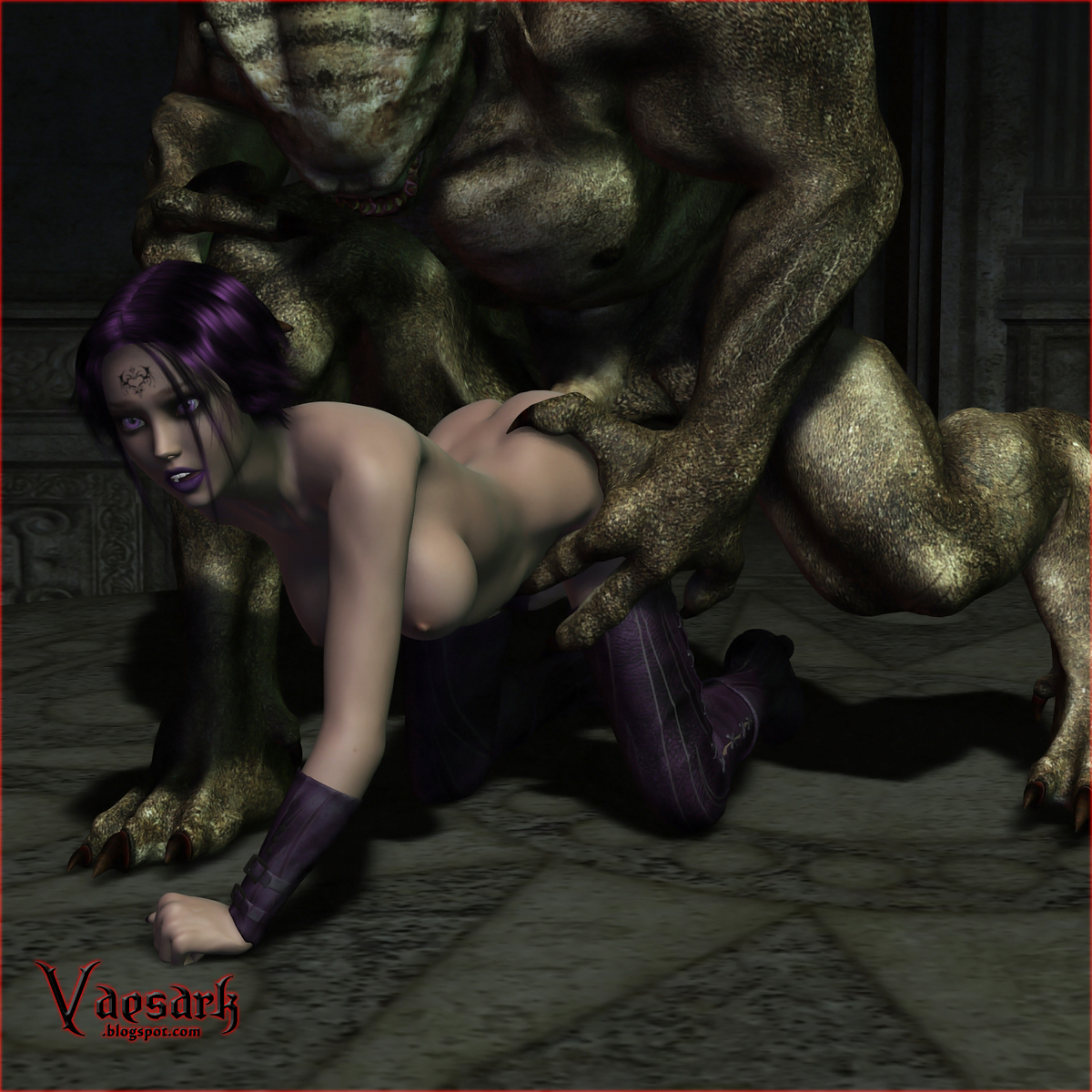 Three monsters abuse elf girl nudes scene
