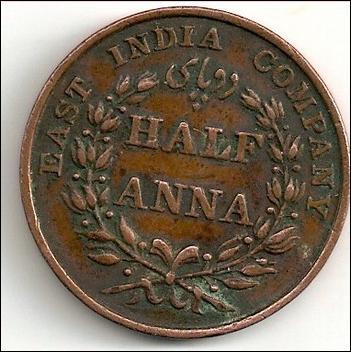 East India Company-Half Anna 1835 4146769_UK-E.I.C.-meia_Anna_1835